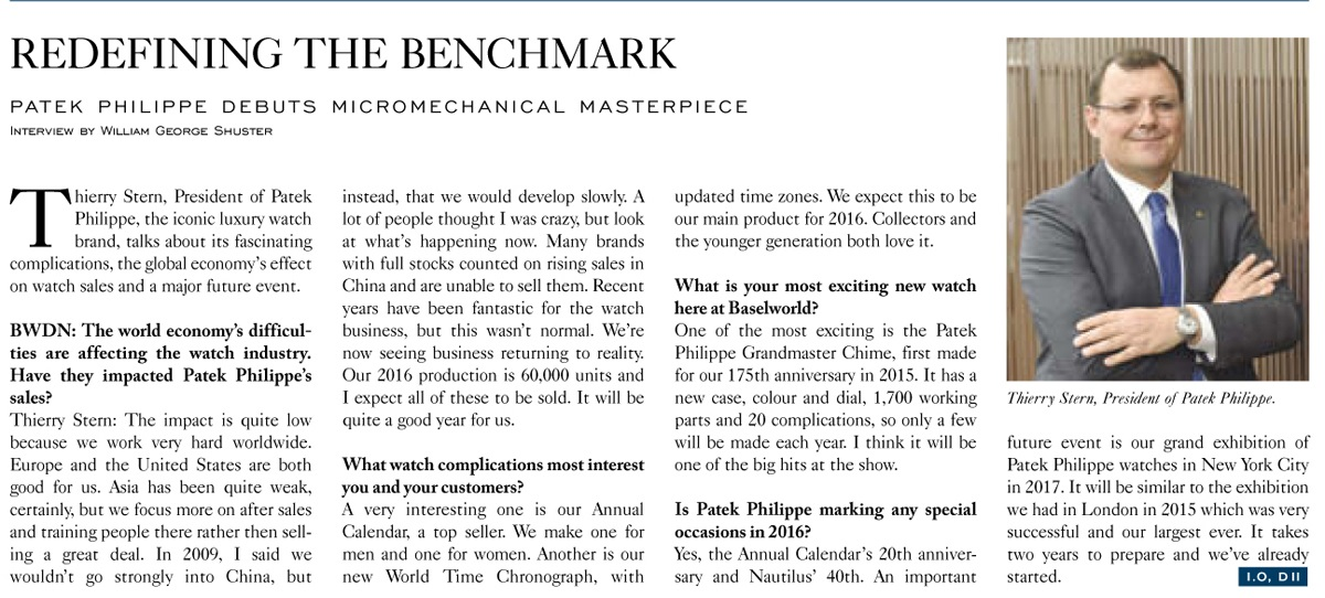 Baselworld Daily News, Patek Philippe Thierry Stern