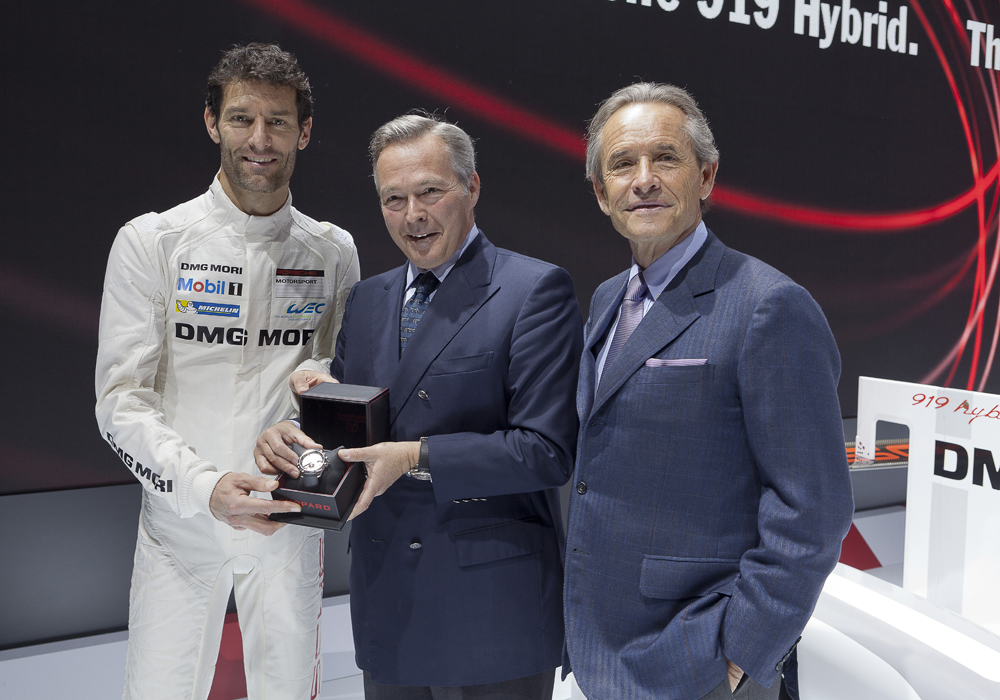 fot. Chopard i Porsche Karl-Friedrich Scheufele with Jacky Ickx and pilot Mark Webber